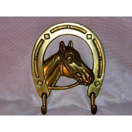 Patere cheval porte manteau laiton 2 pateres fer à cheval