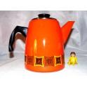 Bouilloire vintage orange cafetiere émaillée année 70