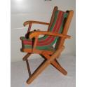 Fauteuil enfant vintage bois pliante tissu orange TBE