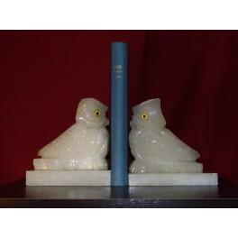 Paire de serre livres hibou sculpture rapace onyx statue chouette vintage