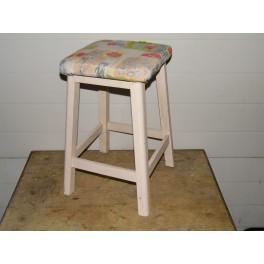 Tabouret vintage bois blanc retro loft mobilier meuble