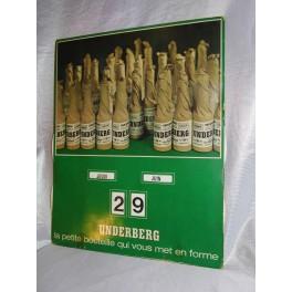 Plaque publicitaire Liqueur UNDERBERG Calendrier perpetuel publicitaire années vintage