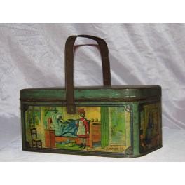 Boite en tôle lithographiée boite à gouter le petit chaperon rouge boite métal vintage