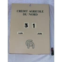 Plaque publicitaire CREDIT AGRICOLE Calendrier perpetuel publicitaire années vintage
