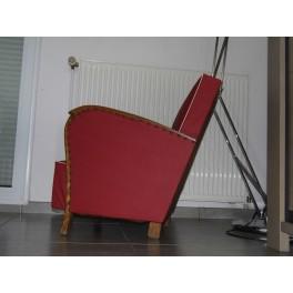 Fauteuil art déco club bridge chauffeuse skaie rouge vintage retro