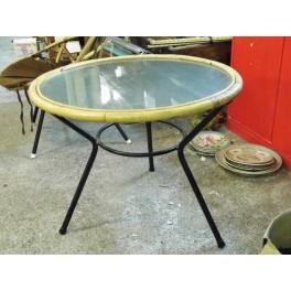 Table vintage rotin bambou table tripode années 60