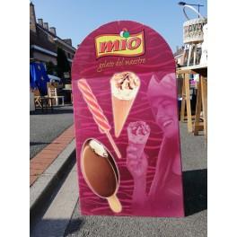 Enseigne publicitaire présentoir glaces vintage MIO
