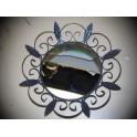 ancien miroir rond fer noir art deco vintage