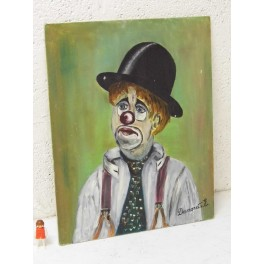 tableau  peinture à l'huile toile clown cirque