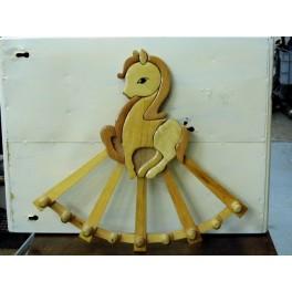 Porte manteaux enfant cheval bois glacé
