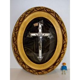 cadre religieux tableau reliquaire crucifix antiquité