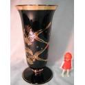 vase opaline napoleon noir et or décor marine
