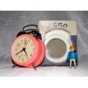 ancien reveil pendule horloge hero rose vintage années 80
