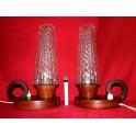 2 lampes scandinave bois et verre vintage