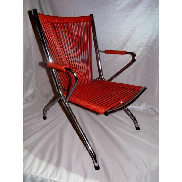 Chaise orange vintage enfant fauteuil scoubidou 60 70 au - Chaise scoubidou vintage ...
