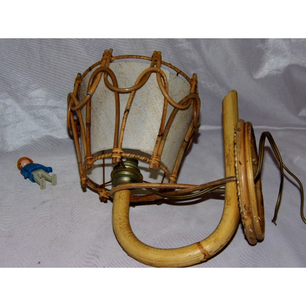 applique lampe rotin bambou abat jour vintage ann es 50. Black Bedroom Furniture Sets. Home Design Ideas