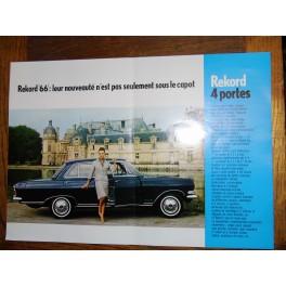 Affiche publicitaire voiture général motors vintage OPEL REKORD 1966