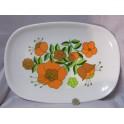 Grand Plat vintage fleuri orange et vert années 60 70 assiette rétro mélamine