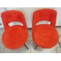 Lot de 2 chaises scandinave peluche rouge année 1965 Baumann 845 G2 siege fauteuil vintage retro