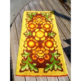 Tapis vintage authentique année 60 deco design tapis orange multicolor
